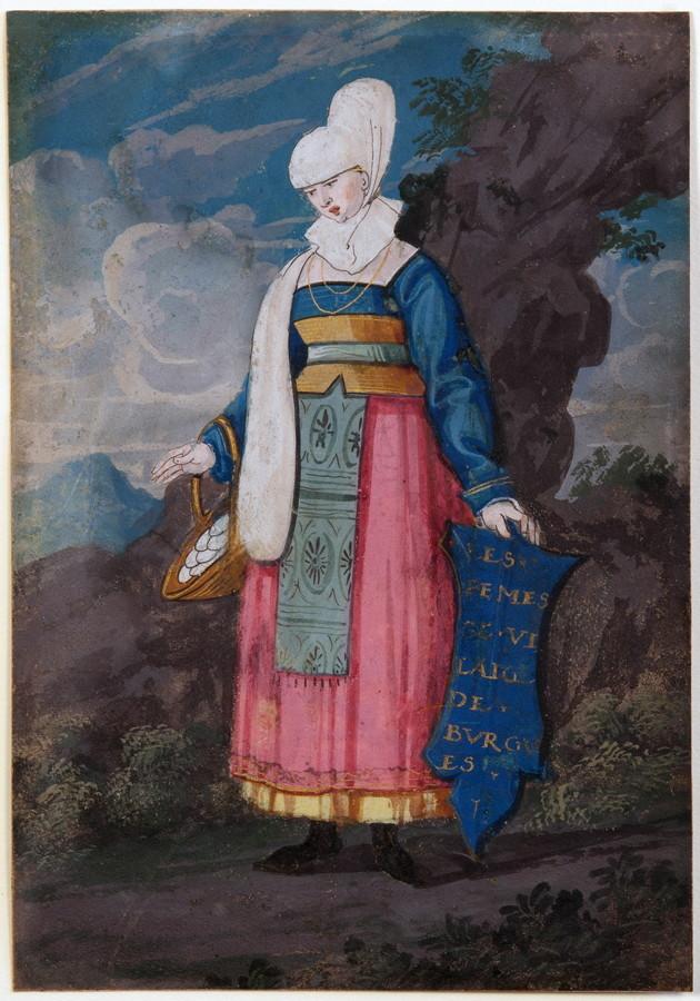 Frankreich, 17. Jahrhundert - Frau in Burgundischer Tracht. Gouache und Federzeichnung auf