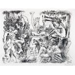 Pablo Picasso. Hommage à Bacchus. Lithographie. 1960. 49,5 : 63,5 cm. (53,5 : 69,2 cm). Signiert, im
