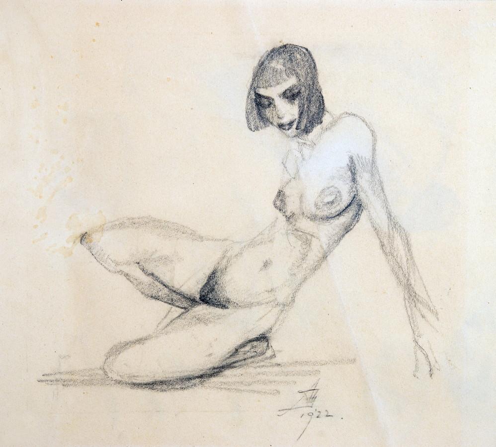 Arminius Hasemann. – Die Zeichnungen - Weiblicher Akt, hockend. Bleistift. 1922. 23,5 : 29,5 cm.