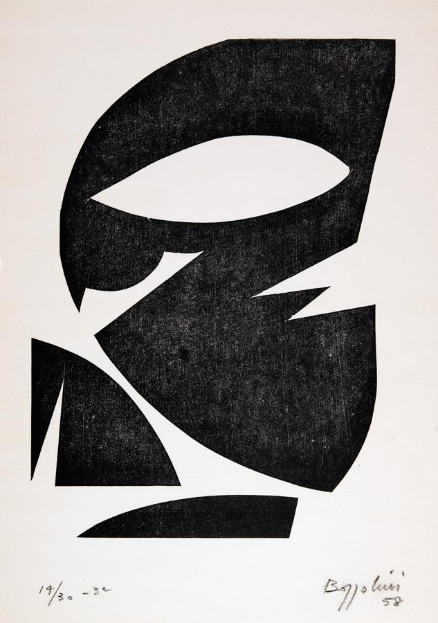 Silvano Bozzolini. Confluences. Sechs Holzschnitte. 1958. 31,0 : 26,0 cm. Signiert, datiert und
