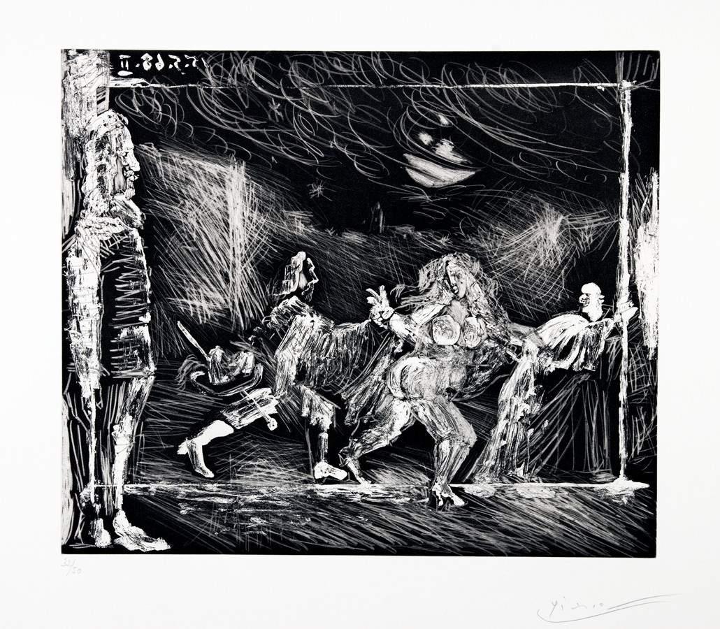 Pablo Picasso. Théâtre ou Télévision: Cape et Epee. Aquatintaradierung. 1968. 29,5 : 34,5 cm (45,0 :