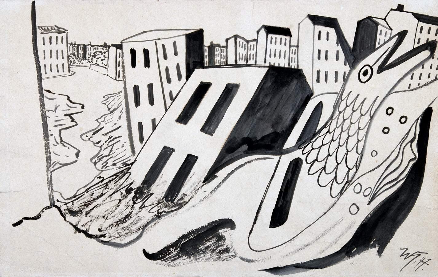 Werner Heldt. Die toten Häuser. Tuschpinselzeichnung. 1947. 30,5 : 48,0 cm. Monogrammiert und