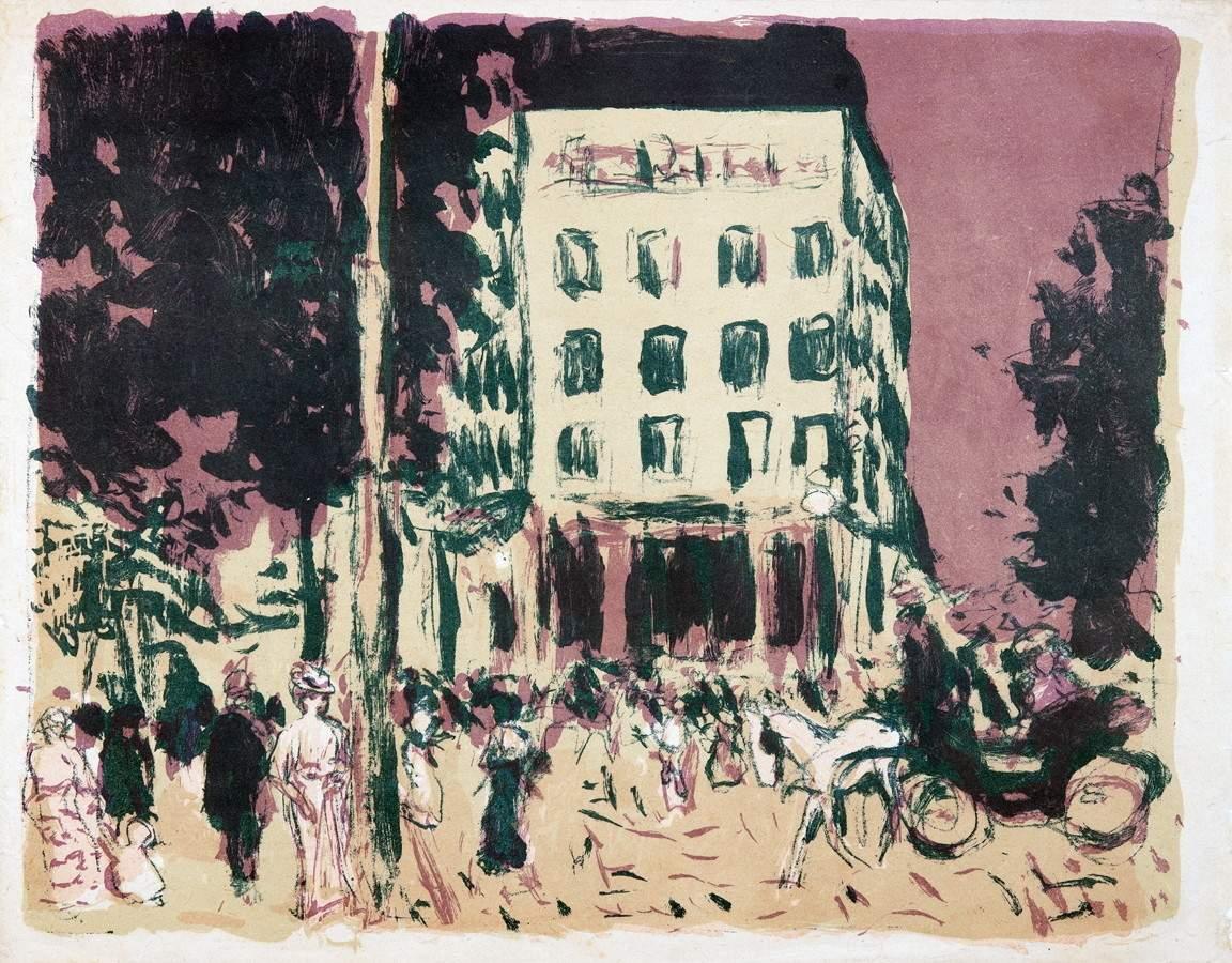 Pierre Bonnard. Les boulevards. Farblithographie. 1900. 26,8 : 33,5 cm (27,6 : 35,4 cm). Eins von