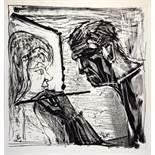 Otto Dix. Selbstbildnis im Profil beim Malen. Lithographie. 1966. 53,5 : 52,0 cm (80,5 : 57,2 cm).