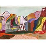 Werner Gilles. Landschaft. Öl auf Leinwand. 1954. 34,5 : 47,0 cm. Signiert und datiert. Eine der