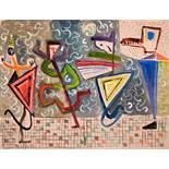 Werner Gilles. Tanzende Figuren. Aquarell. [1948]. 47,5 : 62,5 cm. Rückseitig betitelt und mit