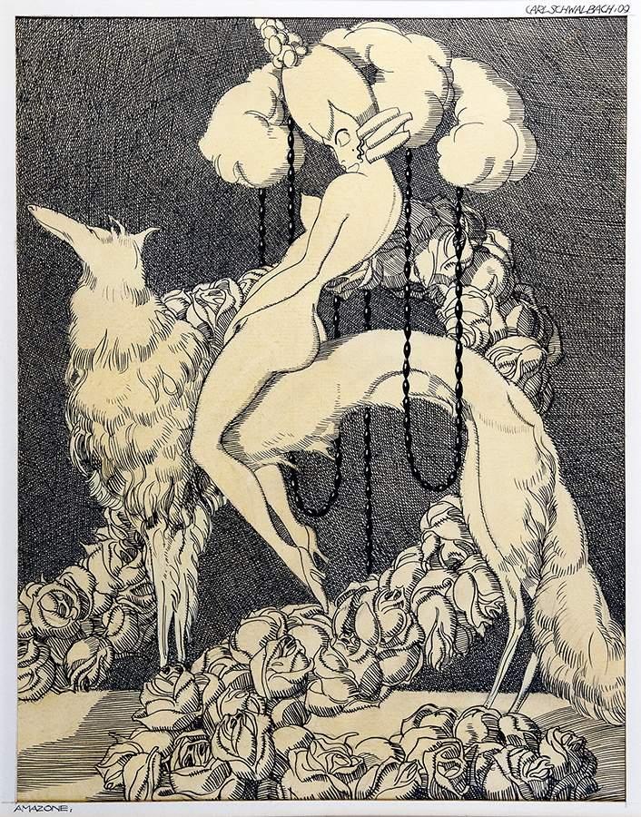 Carl Schwalbach. An'Aphrodite. Neun (von elf) Tuschfederzeichnungen, alle mit Aquarell lasiert, - Image 2 of 3