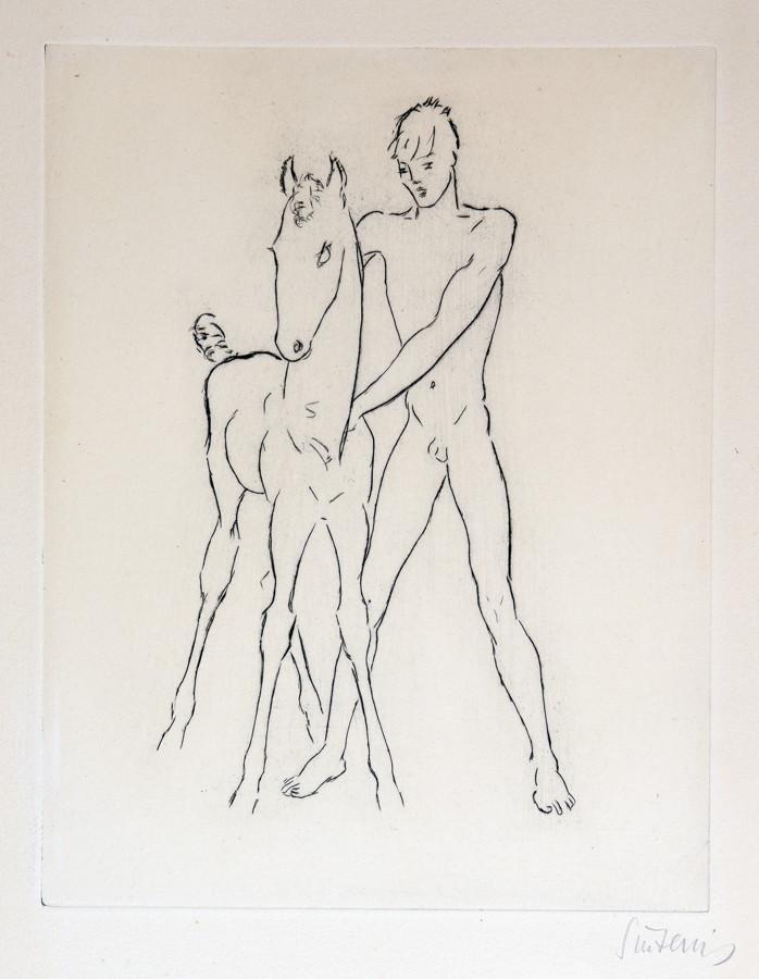 Renée Sintenis. Junge mit anspringendem Hund. – Junge mit Fohlen. – Zwei Radierungen. 21,8 : 17,0 cm - Image 2 of 2