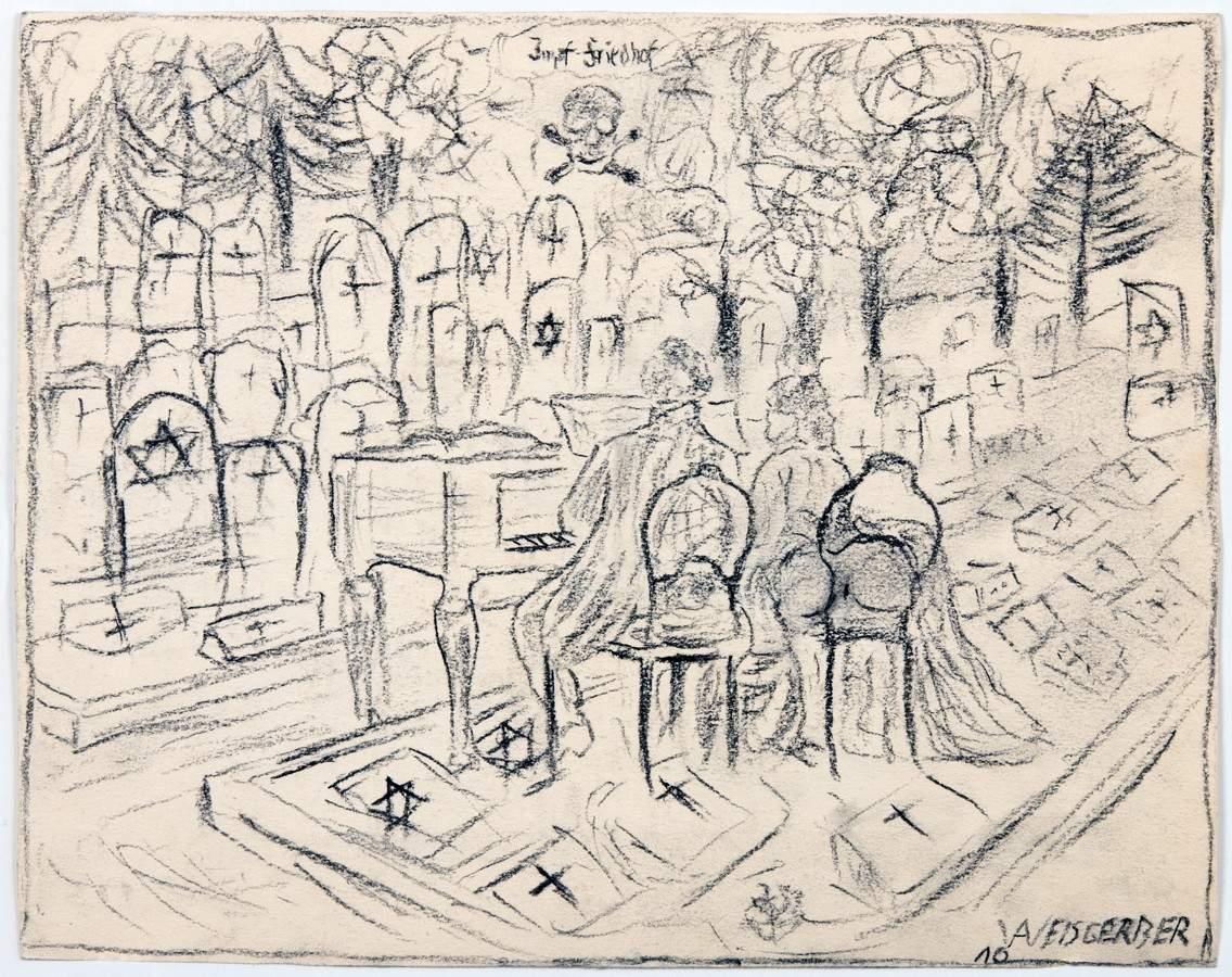 Albert Weisgerber. Dekadenz. Kohlezeichnung. 1910. 14,2 : 17,8 cm. Signiert und datiert,