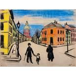 Werner Heldt. Straßenszene. Pastell. 1929. 48,0 : 63,0 cm. Monogrammiert und datiert. Auf