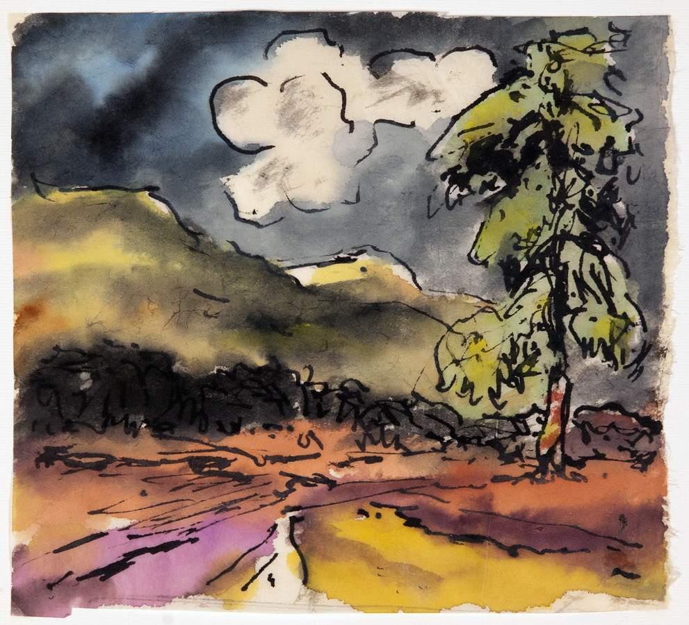 Hans Fehr. Orientalin. – Landschaft. Aquarelle. 1953 und 1955. 21,0 : 14,0 cm bzw. 15,2 : 16,5 cm. - Image 2 of 2