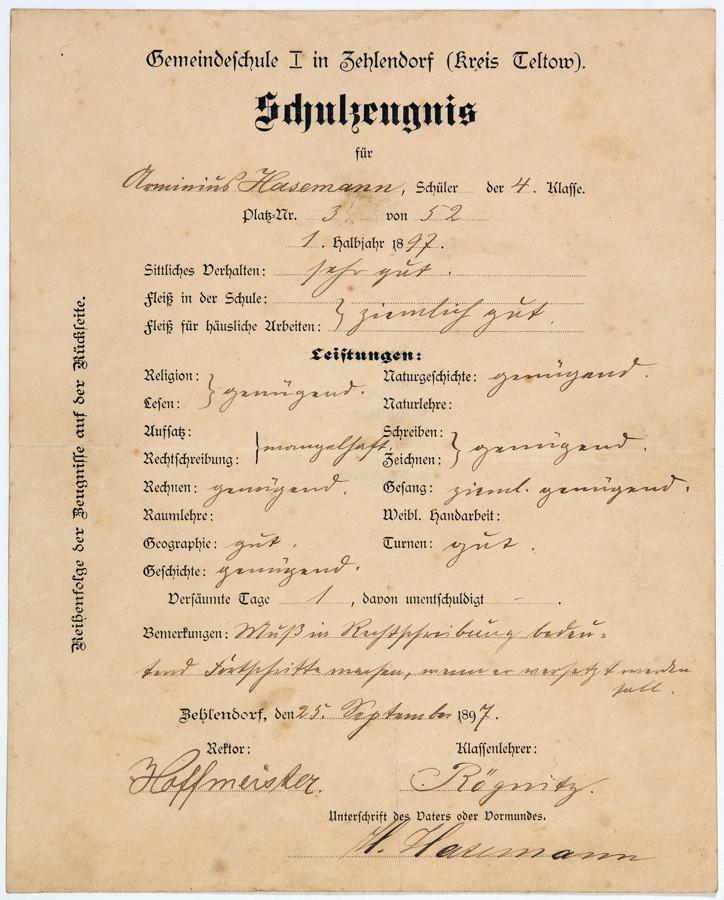 Arminius Hasemann. Dokumente zu Leben und Werk. Zeugnisse, Fotografien, Urkunden und anderes mehr. - Image 3 of 4