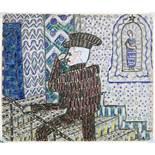 Paul Goesch. Auf der Treppe. Farb- und Bleistiftzeichnung. 1919. 16,4 : 19,2 cm. In überbordender