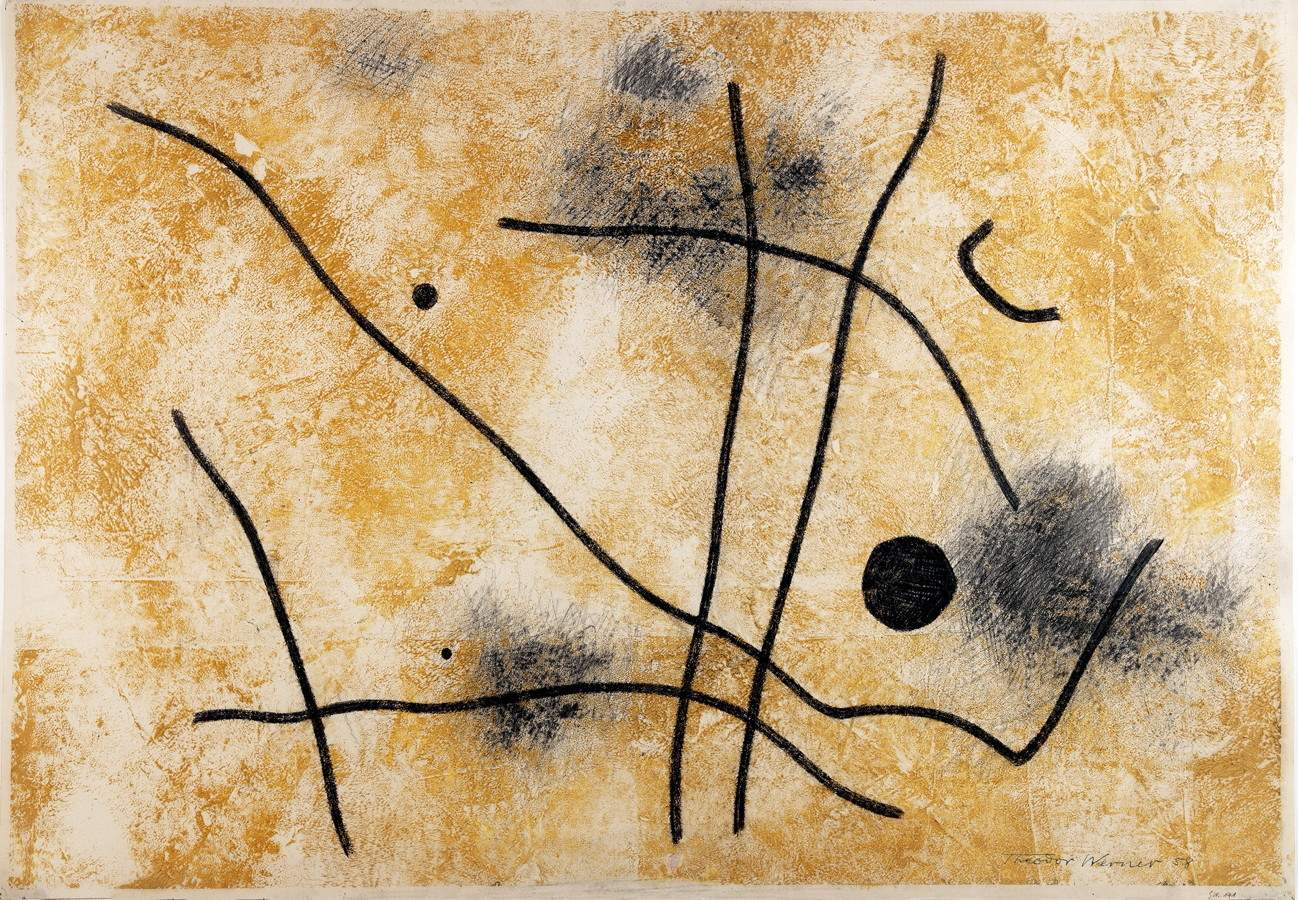 Theodor Werner (1886–1969). Komposition. Öl und Bleistift auf Papier. 1958. 49,5 : 71,5 cm (51,0 :