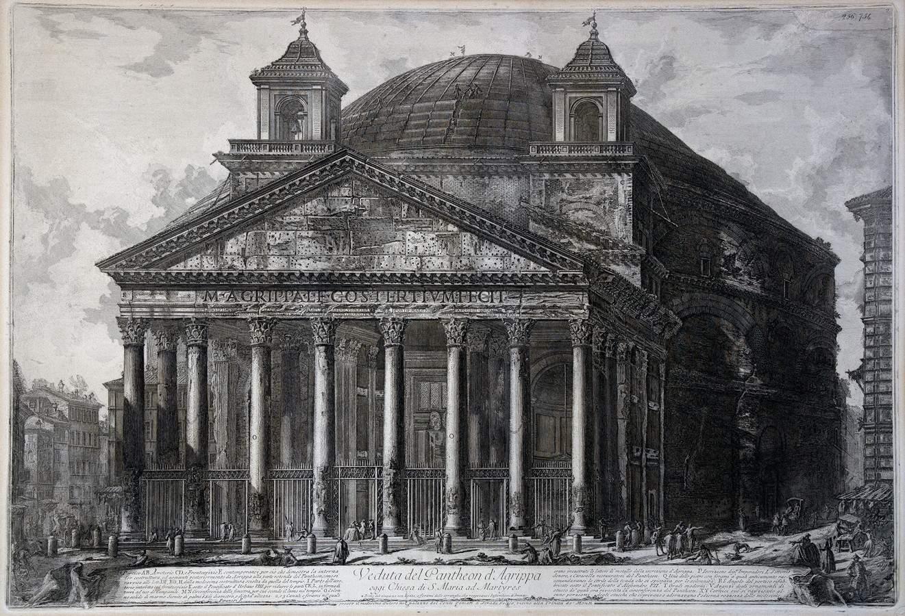 Giovanni Battista Piranesi. Veduta de Pantheon d' Agrippa oggi Chiesa die S. Maria ad Martyres.