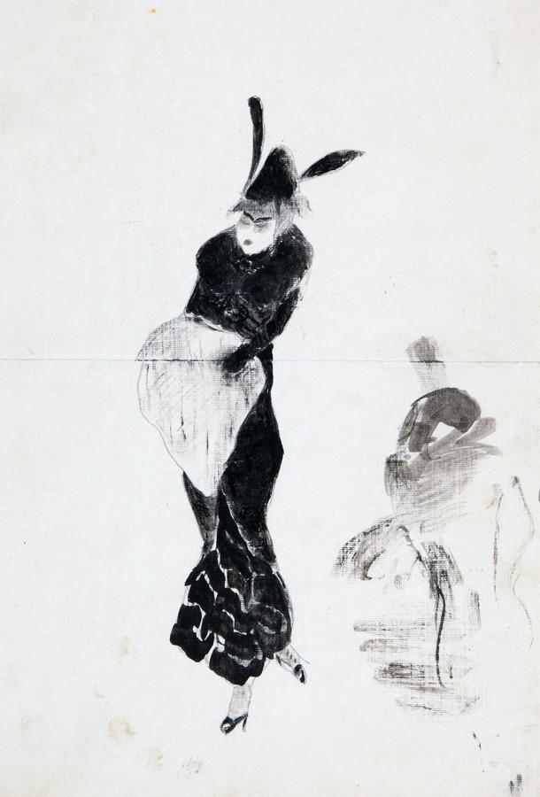 Arminius Hasemann – Die Zeichnungen - Reiseeindrücke. Etwa 1910–1913. I. Dame mit Muff.