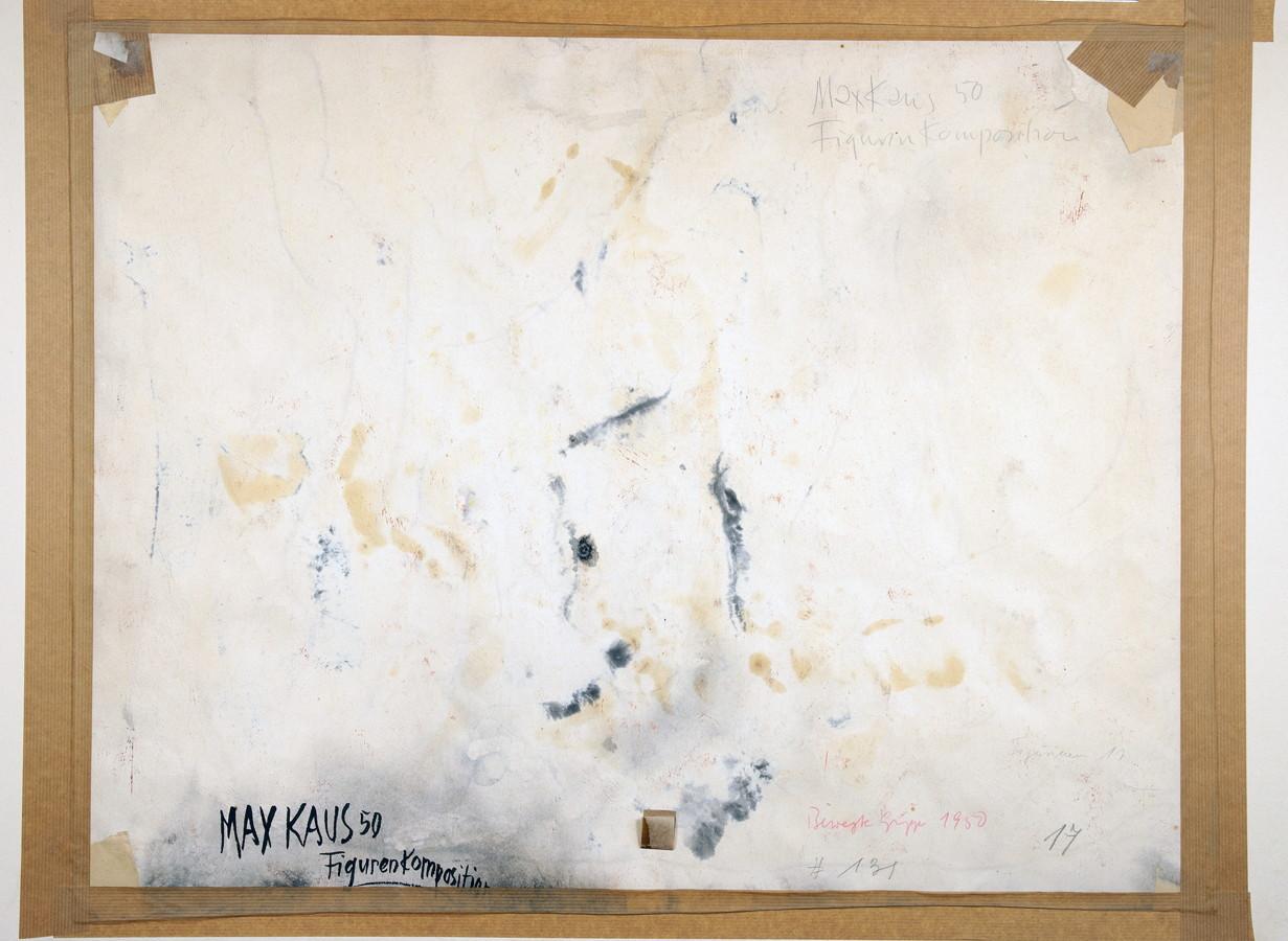 Max Kaus. Figürliche Komposition. Gouache. 1950. 53,0 : 68,0 cm. Signiert, datiert und bezeichnet. - Image 2 of 2