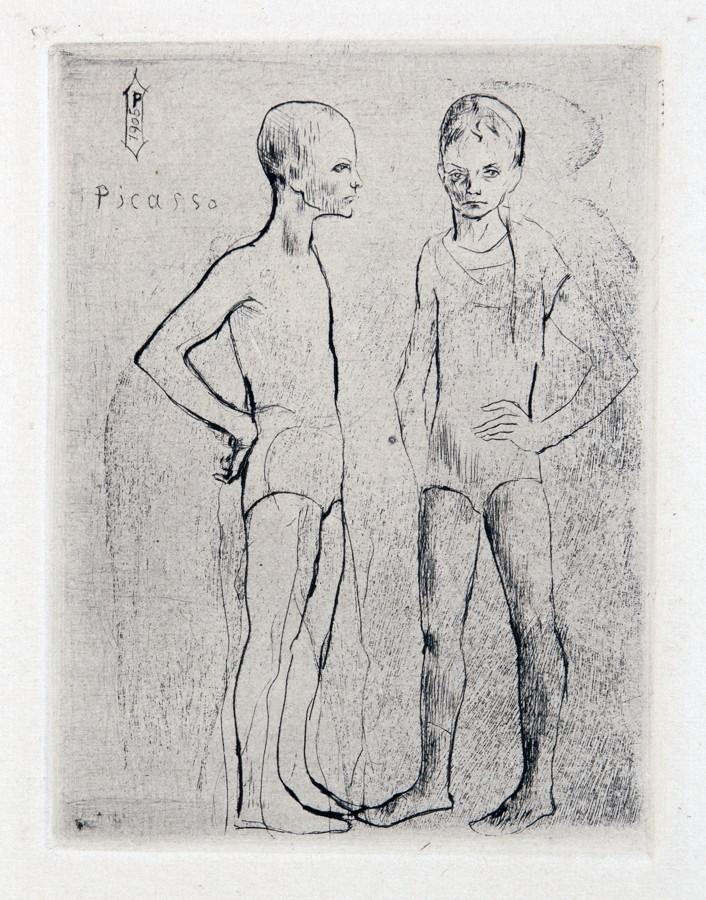 Pablo Picasso. Les deux Saltimbanques. Kaltnadelradierung. 1905. 12,2 : 9,1 cm (29,0 : 21,5 cm).