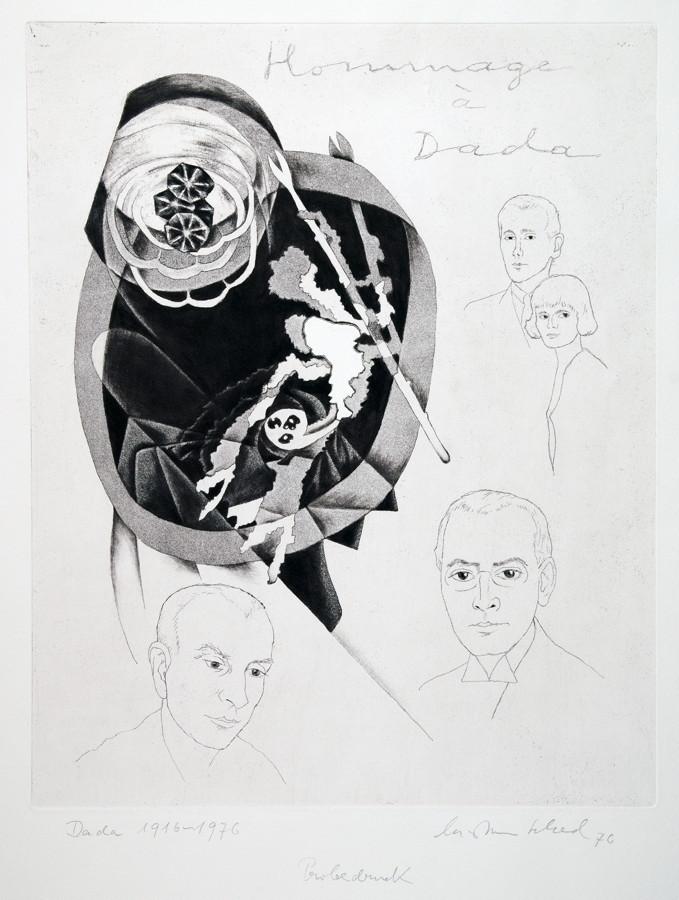 Christian Schad. Hommage à Dada. Dada 1916–1917. Radierung. 1976. 40,8 : 32,6 cm (59,0 : 42,0 cm).