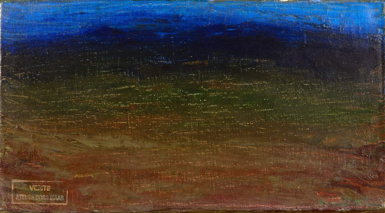 Dora Maar. Paysage du Lubéron. Öl auf Leinwand. 12,5 : 22,0 cm. Rückseitig signiert. Stimmungsvolles
