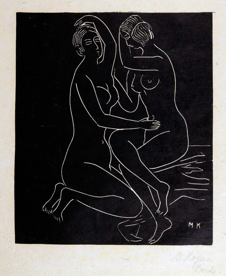 Moissey Kogan. Zwei weibliche Akte (sitzend – knieend). Linolschnitt. 27,5 : 23,4 cm (46,0 : 34,5