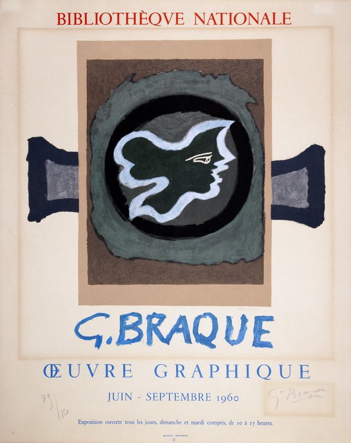 Georges Braque. Profil Grec. Farblithographie. 1960. 33,5 : 37,5 cm. Signiert und nummeriert.