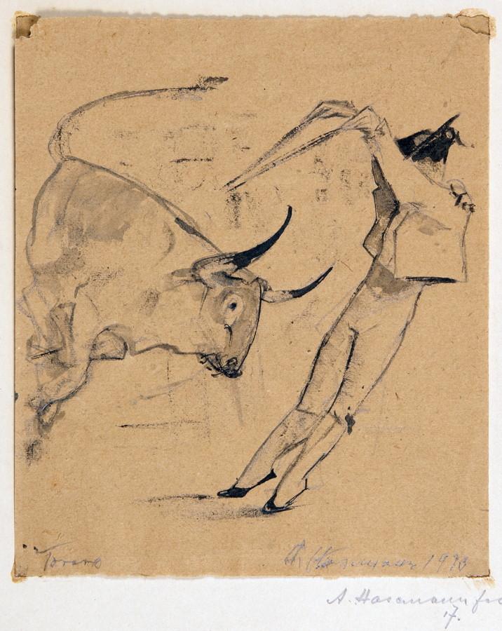 Arminius Hasemann – Die Zeichnungen - Torero. – Torero. – Spanischer Torero. – Drei Zeichnungen. - Image 3 of 3
