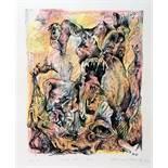 Bernard Schultze (1915–2005). »mit dem Arm«. Farblithographie. 1971. 27,5 : 21,5 cm (56,0 : 45,0