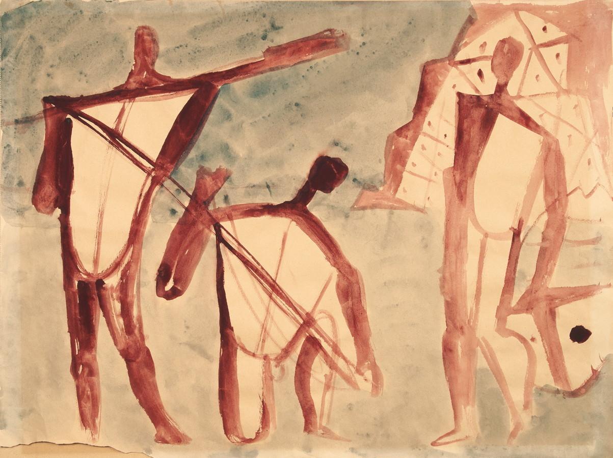 Werner Gilles. Fischer mit Netzen. Aquarell. [um 1956]. 41,5 : 55,5 cm. Rückseitig betitelt und