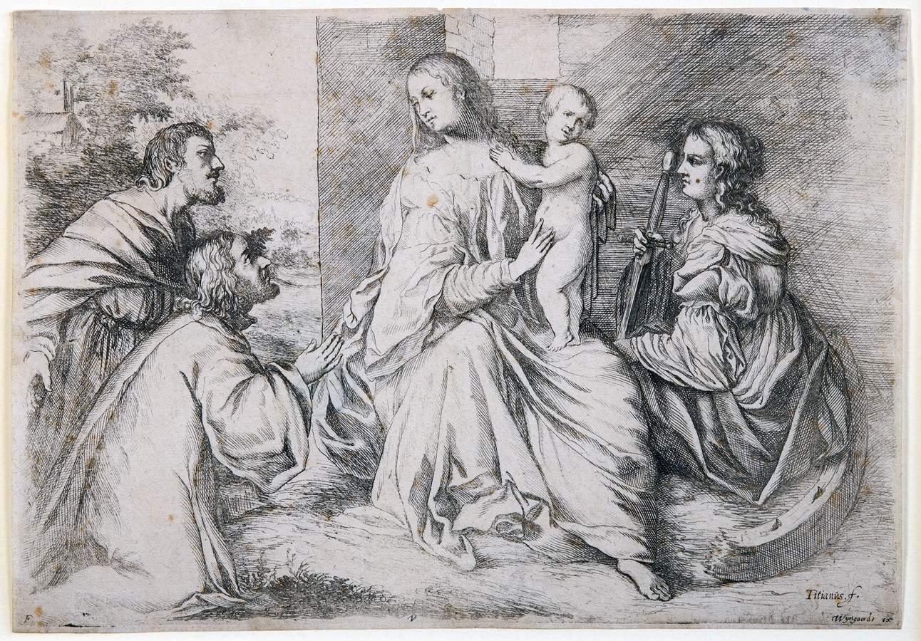 Willem Basse. Anbetung der Heiligen Maria mit dem Kinde und der Heiligen Katharina. Kupferstich nach