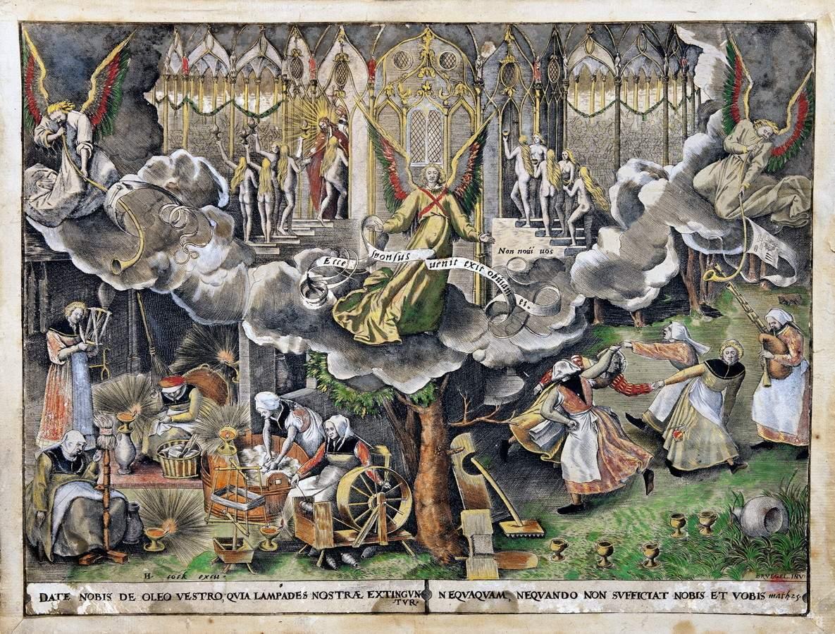 Pieter Bruegel der Ältere. Das Gleichnis der klugen und törichten Jungfrauen. Kupferstich von
