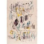 Gerhard Hoehme. Ohne Titel. Tusche und Aquarell. 28,2 : 19,5 cm. Signiert. Abstrakte Komposition,
