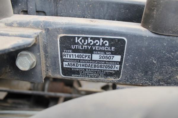 Kubota RTV, M# RTV1140CPX, S/N 20507, Product I.D# A5KD1HDAEBG020507, 347 hours - Image 2 of 4