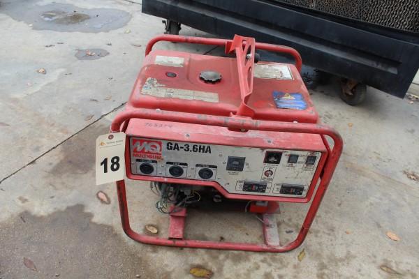 Multiquip Generator, M# GA-3.6HA, S/N 5731839