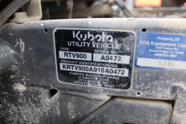 Kubota RTV, M# RTV900, S/N A0472, Product I.D# KRTV900A910A0472, W/ Auxillary Hydraulics & Power - Image 2 of 4