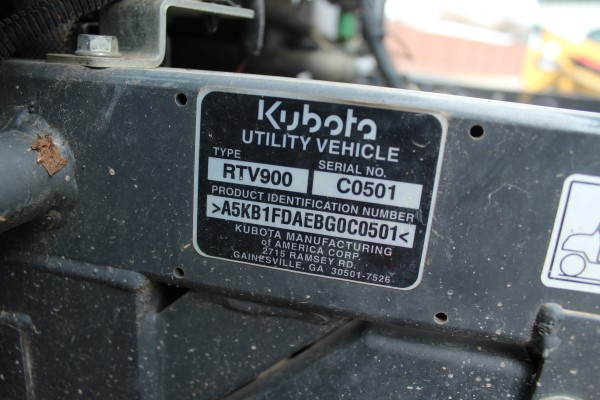 Kubota RTV, M# RTV900, S/N C0501, Product I.D# A5KB1FDAEBG0C0501, (Out of service, engine issue) - Image 2 of 4