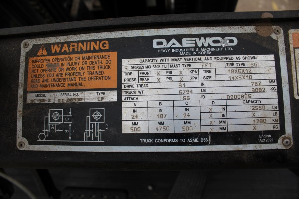 Daewoo 2,550 lb. Fork Lift, M# GC-155-2, S/N D!-00330, 1,201 hours - Image 2 of 4