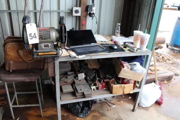 Work Bench, W/ Grinder, (No Computer Equipment)