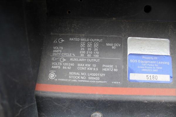 Hobart Gas Powered Welder/Generator, 10,000 Watt Generator, 230 Amp DC/CC Welder, S/N LH320112Y - Image 2 of 2