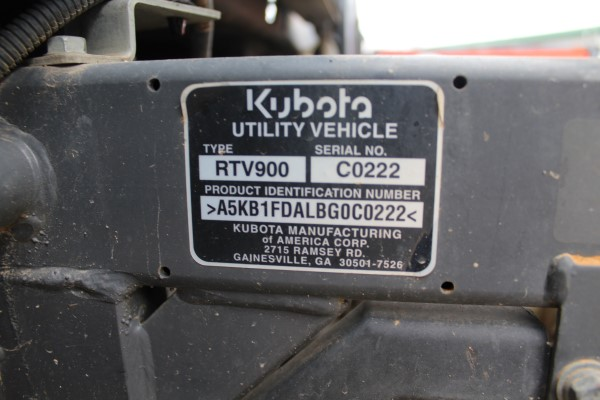 Kubota RTV, M# RTV900, S/N C0222, Product I.D# A5KB1FDALBG0C0222, 1,066 hrs (Out of service wrecked) - Image 2 of 4