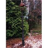 CAST IRON VICTORIAN STYLE LADDER BAR LAMPOST IN BLACK PRIMER WITH NEW GLAZED COPPER TOP