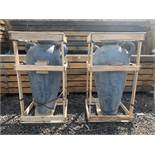 MASSIVE PAIR OF CRATED TERRACOTTA URNS 1.1M HIGH