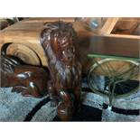MUSEUM QUALITY HANDCARVED SOLID WOOD LION SITTING