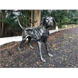 HIGH QUALITY LARGE CAST IRON DOG STATUE IN BRONZE FINISH CRATED