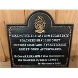 CAST IRON POACHERS SIGN
