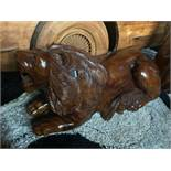 MUSEUM QUALITY HANDCARVED SOLID WOOD LION LAYING