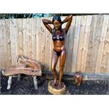 HANDCARVED SOLID WOOD 2M HIGH POLISHED LADY IN BIKINI STATUE