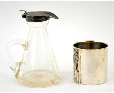 Silver topped Whiskey Noggin and 800 grade bark effect stem beaker .