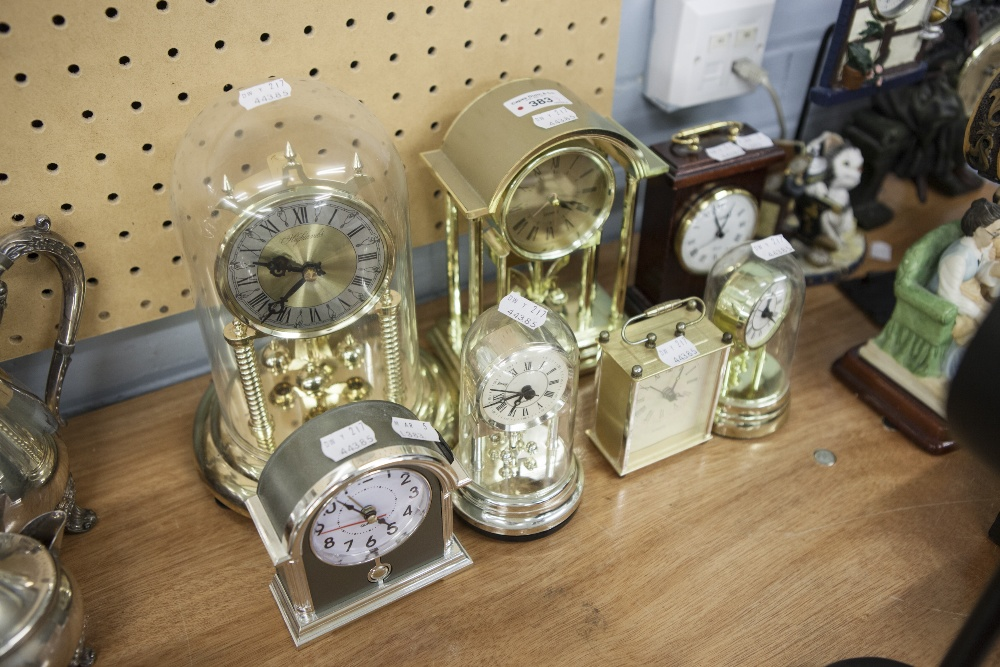 """Lot 383 - HIGHLANDS BATTERY OPERATED ANNIVERSARY CLOCK, WITH PLASTIC DOME COVER, 10"""" HIGH, 2 SMALLER"""
