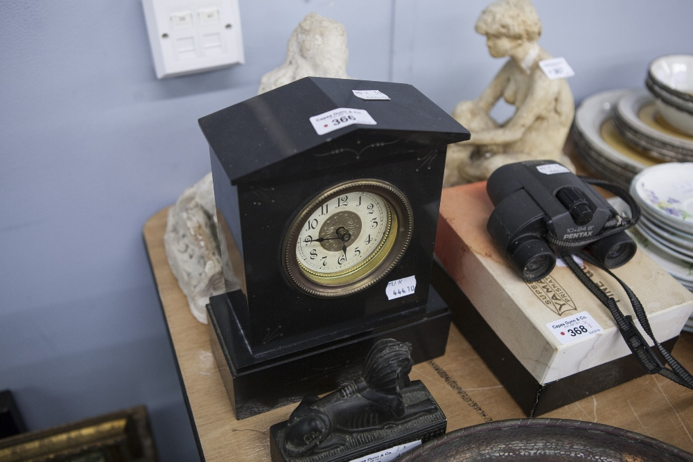 Lot 366 - VICTORIAN BLACK SLATE MANTEL CLOCK WITH WHITE ARABIC DIAL